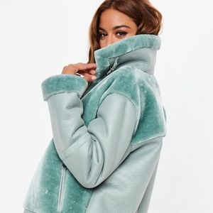 Missguided Jackets & Coats - Missguided teal jacket